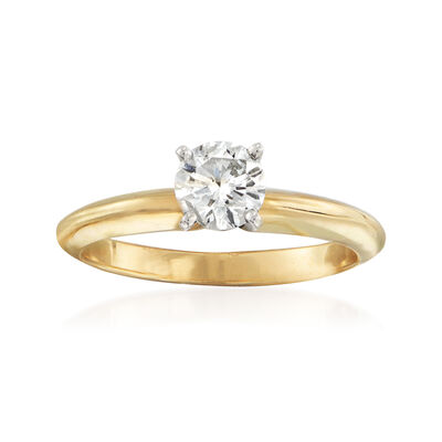 C. 2010 Vintage .54 Carat Certified Diamond Solitaire Ring in 14kt Yellow Gold, , default