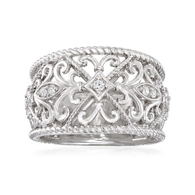 Gabriel Designs .10 ct. t.w. White Sapphire Ring in Sterling Silver