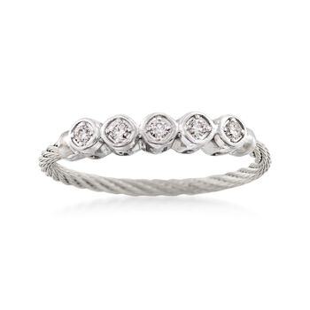 ALOR .11 Carat Total Weight Diamond Circle Gray Cable Band With 18-Karat White Gold. Size 7, , default