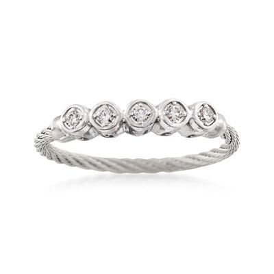 "ALOR ""Classique"" .11 ct. t.w. Diamond Gray Cable Ring With 18kt White Gold, , default"