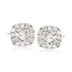 Henri Daussi 1.20 ct. t.w. Diamond Halo Stud Earrings in 18kt White Gold  , , default