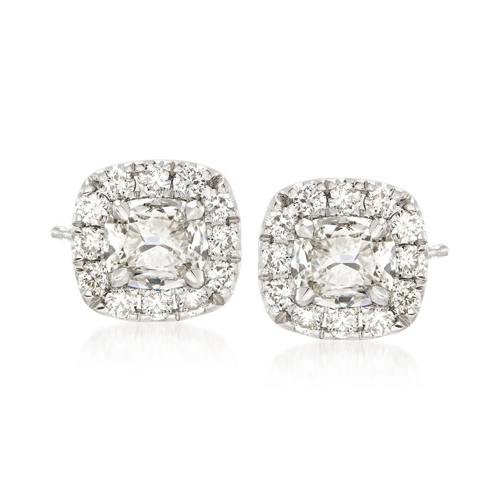 Henri Daussi 1.20 Carat Total Weight Diamond Studs in 18-Karat White Gold, , default