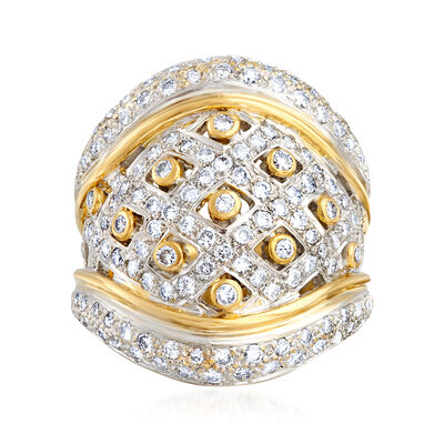 C. 1980 Vintage 2.00 ct. t.w. Diamond Basketweave Ring in 18kt Two-Tone Gold