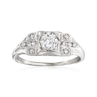 C. 1930 Vintage .55 ct. t.w. Diamond Ring in 18kt White Gold