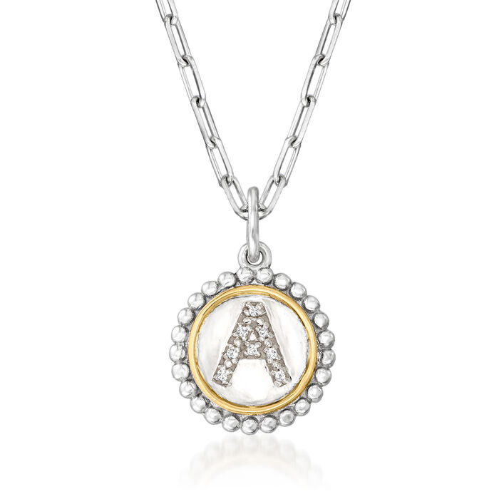 """Phillip Gavriel """"Popcorn"""" Diamond-Accented Single-Initial Pendant Paper Clip Link Necklace in Sterling Silver with 18kt Yellow Gold 20-inch  (A)"""