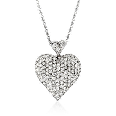 C. 2000 Vintage 2.50 ct. t.w. Diamond Heart Pendant Necklace in 14kt and 18kt White Gold