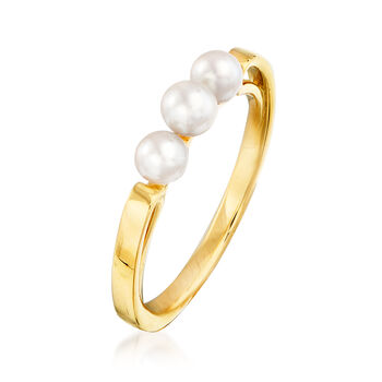 Mikimoto 3.75-4mm A+ Akoya Pearl Ring in 18kt Yellow Gold