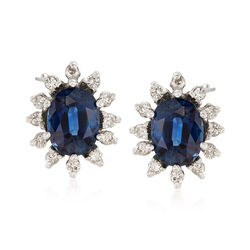 C. 1980 Vintage 3.00 ct. t.w. Sapphire and .35 ct. t.w. Diamond Earrings in 14kt White Gold, , default