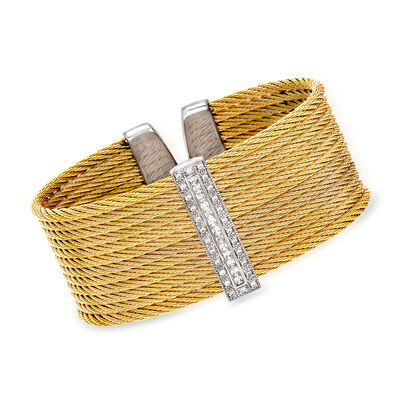 "ALOR ""Classique"" .61 ct. t.w. Diamond Yellow Stainless Steel Cable Cuff Bracelet with 18kt White Gold"