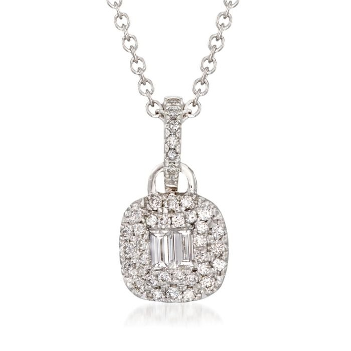 """Gregg Ruth .47 Carat Total Weight Baguette and Round Diamond Necklace in 18-Karat White Gold. 18"""""""