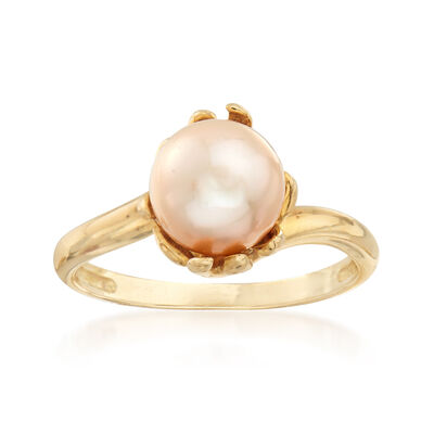 C. 1980 Vintage 8mm Cultured Pearl Ring in 10kt Yellow Gold, , default