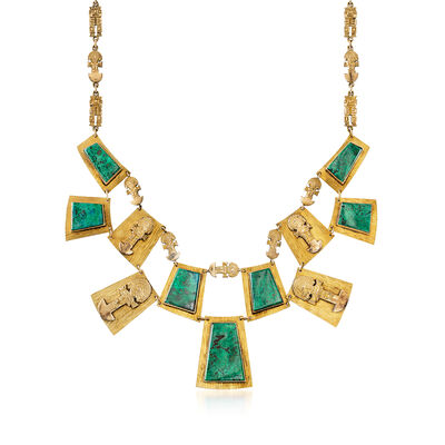C. 1980 Vintage Malachite and 18kt Yellow Gold Bib Necklace