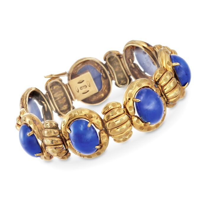 "C. 1970 Vintage Cabochon Lapis Bracelet in 18kt Yellow Gold. 7"", , default"