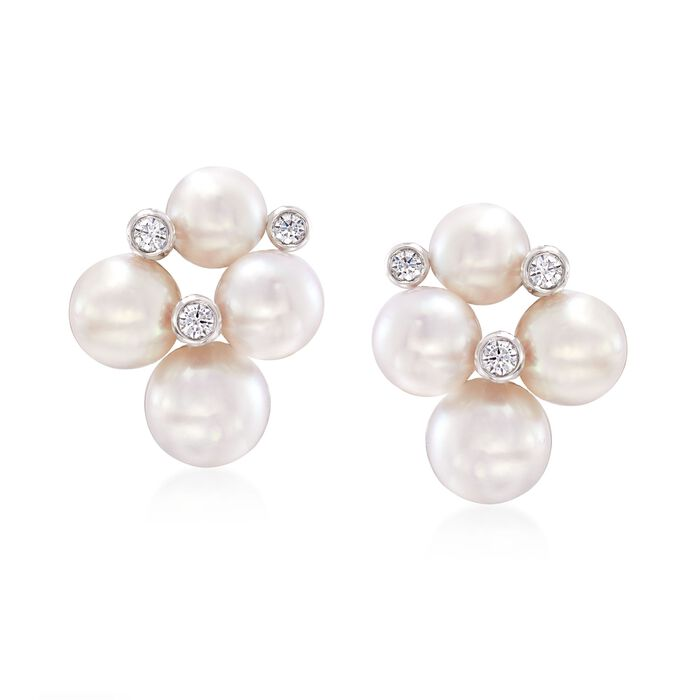 Mikimoto Bubbles 4.75-6mm A+ Akoya Pearl Earrings with Diamond Accents in 18-Karat White Gold