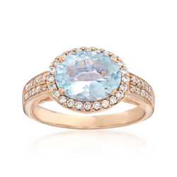C. 2000 Vintage 2.20 Carat Aquamarine and .35 ct. t.w. Diamond Ring in 14kt Yellow Gold, , default