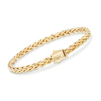 "Phillip Gavriel ""Woven Gold"" 14kt Yellow Gold Squared Braid Link Bracelet, , default"