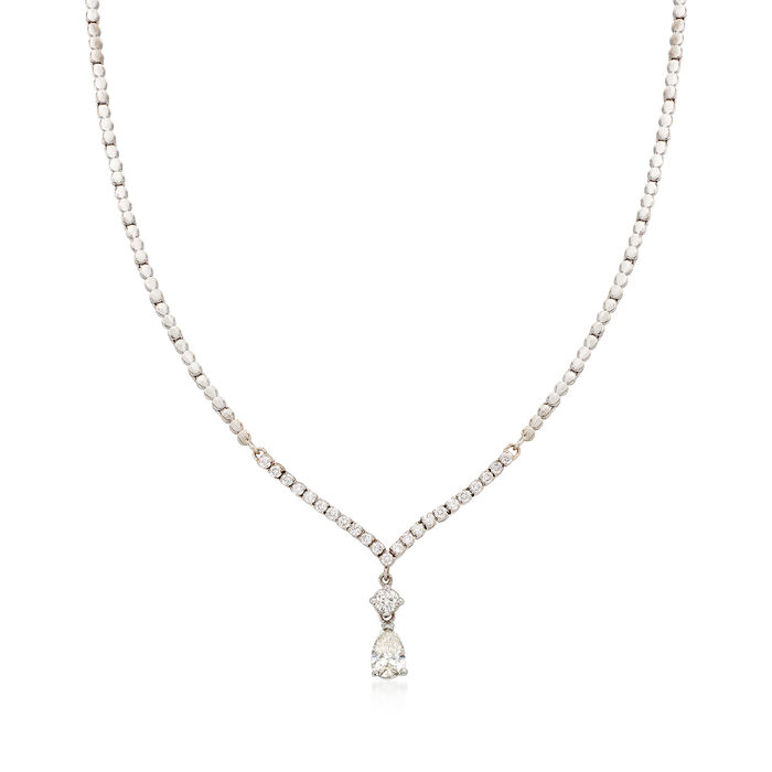 C. 1990 Vintage 2.15 ct. t.w. Diamond Drop Necklace in 18kt White Gold