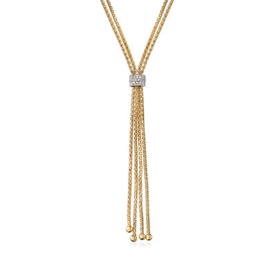 "Phillip Gavriel ""Popcorn"" .12 ct. t.w. Diamond Lariat Necklace in 14kt Yellow Gold, , default"