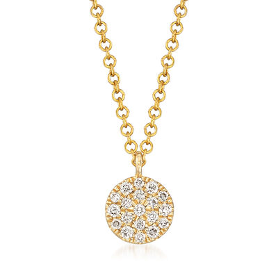 Gabriel Designs .10 ct. t.w. Diamond Circle Pendant Necklace in 14kt Yellow Gold, , default
