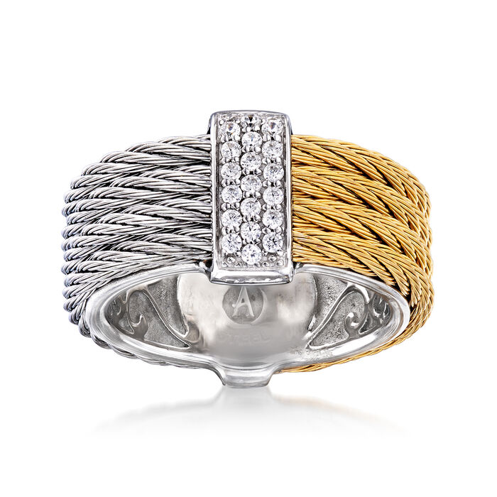 """ALOR """"Classique"""" .16 ct. t.w. Diamond Two-Tone Stainless Steel Cable Ring with 18kt White Gold"""