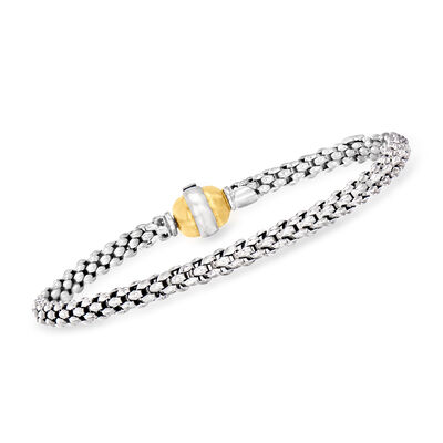 C. 1990 Vintage Fope 18kt White Gold Popcorn-Link Bracelet with 18kt Yellow Gold