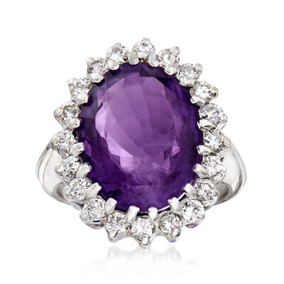C. 1970 Vintage 8.75 Carat Amethyst and .80 ct. t.w. Diamond Cocktail Ring in 14kt White Gold