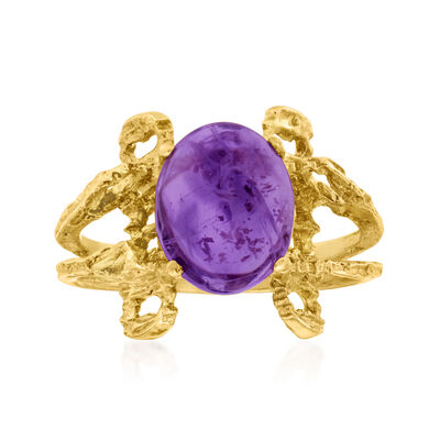 C. 1970 Vintage 2.65 Carat Amethyst Ring in 14kt Yellow Gold