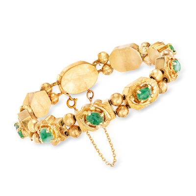 C. 1960 Vintage Green Jade Bracelet in 14kt Yellow Gold