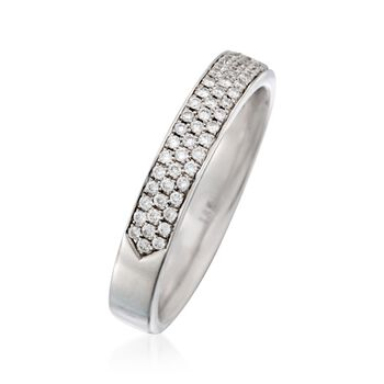 Henri Daussi .40 ct. t.w. Pave Diamond Three-Row Wedding Ring in 18kt White Gold, , default