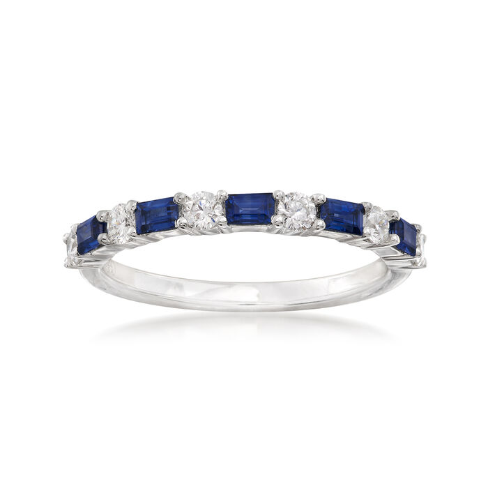Gregg Ruth .50 ct. t.w. Baguette Sapphire and .33 ct. t.w. Diamond Ring in 18kt White Gold. Size 5, , default