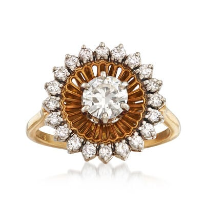 C. 1970 Vintage 1.00 ct. t.w. Diamond Halo Ring in 18kt Yellow Gold