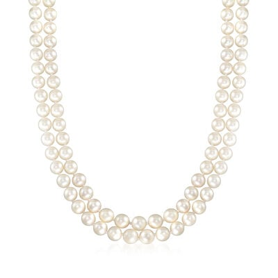 C. 1970 Vintage 6.5-7mm Cultured Pearl Double-Strand Necklace with .25 ct. t.w. Diamonds in 14kt White Gold, , default
