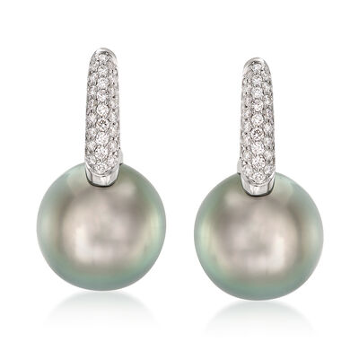 "Mikimoto ""Classic"" 10mm A+ South Sea Pearl and .28 ct. t.w. Diamond Hoop Earrings in 18kt White Gold, , default"