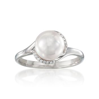 Mikimoto Akoyo Pearl and Diamond Ring in 18-Karat White Gold. Size 7, , default