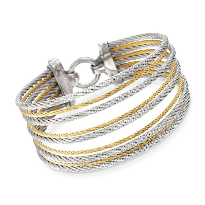 "ALOR Classique Two-Tone Stainless Steel Multi-Cable Bracelet with 18-Karat Yellow Gold. 7"", , default"
