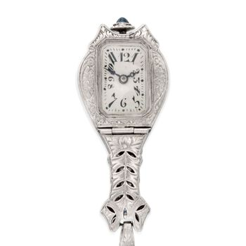 "C. 1910 Vintage Ebel 1.15 ct. t.w. Diamond and .40 ct. t.w. Synthetic Sapphire Watch Pendant Necklace in Platinum and 14kt White Gold. 18"", , default"