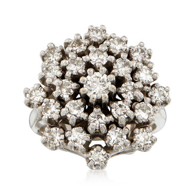 C. 1970 Vintage 1.75 ct. t.w. Diamond Cluster Ring in 14kt White Gold
