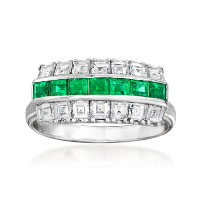 C. 1970 Vintage 1.06 ct. t.w. Diamond and .47 ct. t.w. Emerald Ring in Platinum