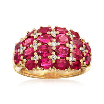 C. 2000 Vintage 5.73 ct. t.w. Ruby and .30 ct. t.w. Diamond Dome Ring in 18kt White Gold, , default