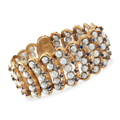 C. 1970 Vintage 5-5.5mm Cultured Pearl and 6.00 ct. t.w. Sapphire Bracelet in 14kt Yellow Gold