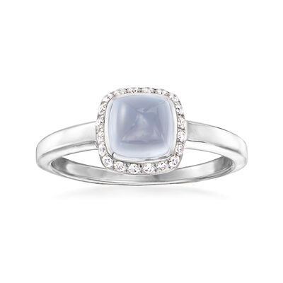 C. 1990 Vintage Fred Blue Chalcedony Ring with .15 ct. t.w. Diamonds in 18kt White Gold