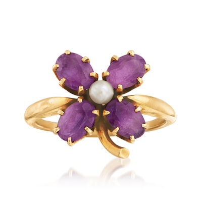 C. 1940 Vintage 3mm Cultured Pearl and 2.00 ct. t.w. Amethyst Flower Ring in 14kt Yellow Gold, , default