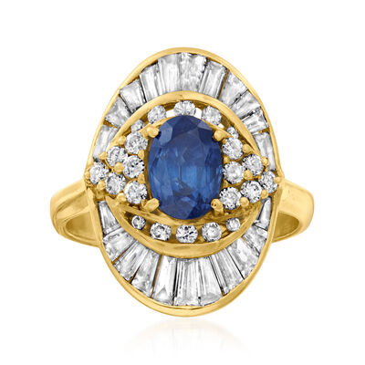 C. 1970 Vintage 2.00 Carat Sapphire and 2.50 ct. t.w. Diamond Cocktail Ring in 18kt Yellow Gold