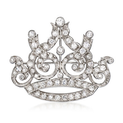 C. 1950 Vintage 2.25 ct. t.w. Diamond Crown Pin in Platinum