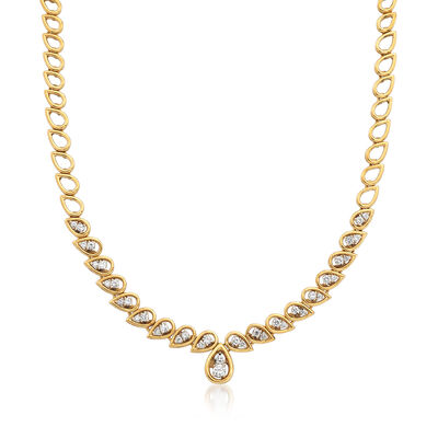 C. 1990 Vintage 1.75 ct. t.w. Diamond Drop Collar Necklace in 18kt Yellow Gold