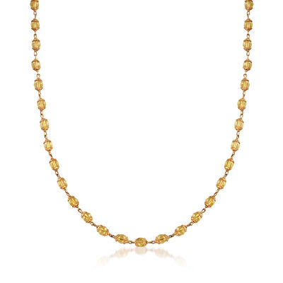 C. 1970 Vintage Yellow Glass Bead Necklace in 14kt Yellow Gold