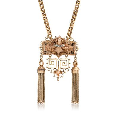 C. 1910 Vintage 14kt Yellow Gold Tassel Pin Pendant Necklace with Seed Pearls and Black Enamel, , default