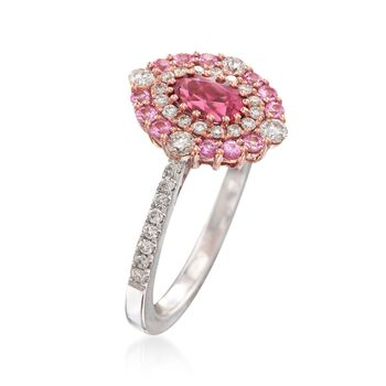 Gregg Ruth .40 Carat Rubellite and .37 ct. t.w. Diamond Ring With Pink Sapphires in 18kt White Gold, , default
