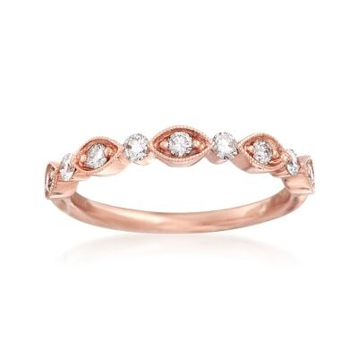 Henri Daussi .30 ct. t.w. Diamond Wedding Ring in 18kt Rose Gold, , default