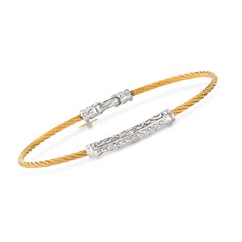 """ALOR Classique .10 Carat Total Weight Diamond Swirl Bar Bracelet With 18-Karat White Gold in Stainless Steel. 7"""", , default"""